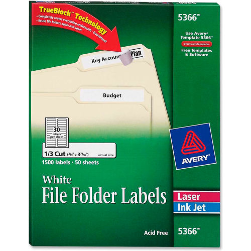 Avery Permanent Self-Adhesive Laser/Inkjet File Folder Labels, White, 1500/Box by