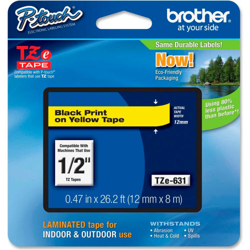 """Brother P-Touch TZe Labeling Tape, 1/2""""W, Black on Yellow by"""