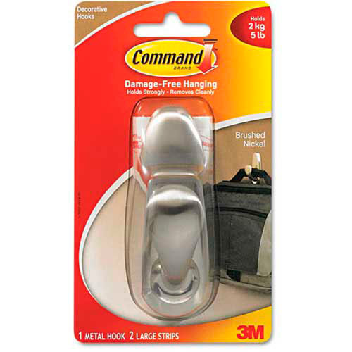 3M Command Adhesive Mount Metal Hook, Large, Brushed Nickel Finish by