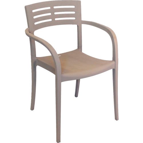 Grosfillex Outdoor Stacking Armchair French Taupe Vogue Series Package Count 4 by