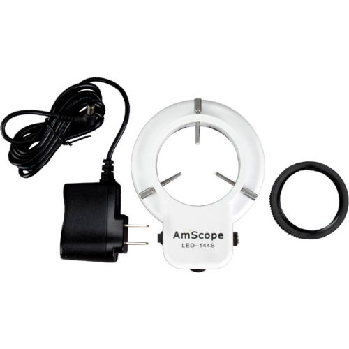 AmScope LED-144S LED Adjustable Compact Microscope Ring Light with Adapter by