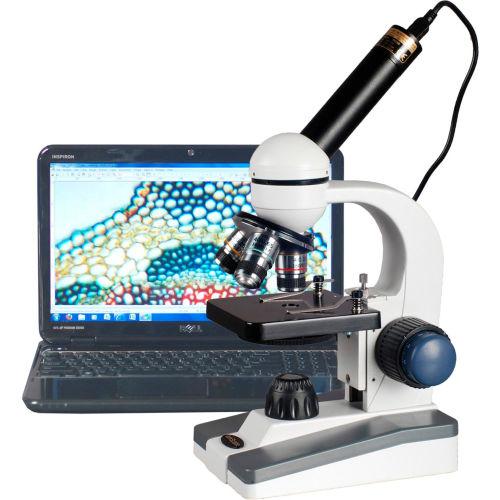 AmScope M150C-E5 40X-1000X LED Coarse & Fine Focus Science Student Microscope with 5MP USB Camera by