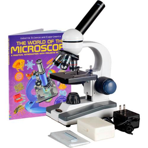 AmScope M150C-PS25-WM 40X-1000X Coarse & Fine Student Compound Microscope + 25 pcs. Slides & Book by