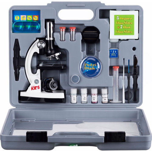 AmScope M30-ABS-KT2-W AMSCOPE-KIDS 52-Piece Microscope Kit with Accessory Set & Case by