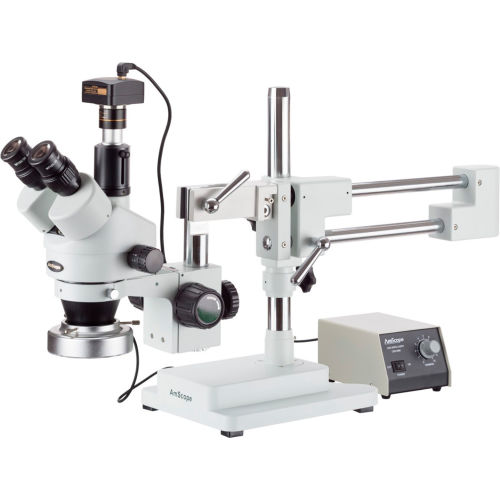 AmScope SM-4TZ-80M-5M 3.5X-90X Boom Stand Stereo Microscope with 80-LED Ring Light & 5MP Camera by