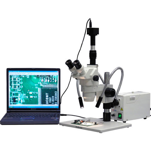 AmScope ZM-1TW3-FOD-M 2X-225X Trinocular Stereo Zoom Microscope with Large Stand & 1.3MP Camera by