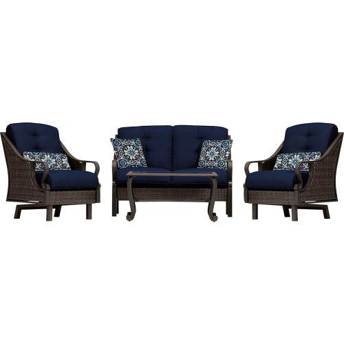 Hanover Ventura 4-Piece Woven Patio Set, Navy Blue by
