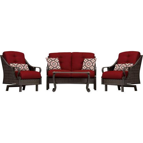 Hanover Ventura 4-Piece Woven Patio Set, Crimson Red by
