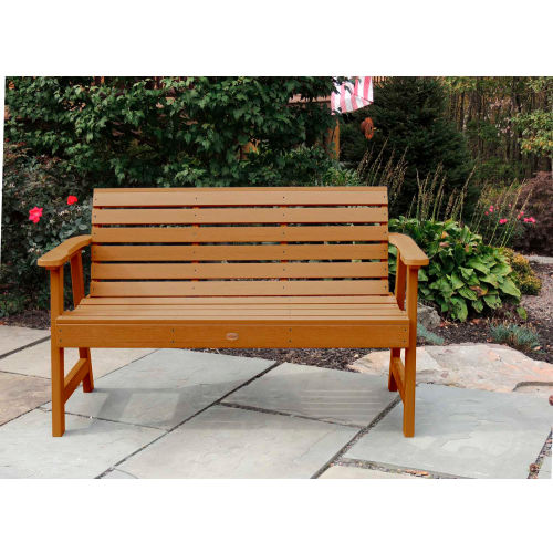 highwood 5' Weatherly Outdoor Bench, Eco Friendly Synthetic Wood In Toffee by