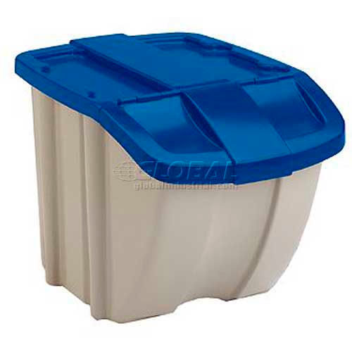 Bins Totes Containers Stacking Suncast Bh181812 18 Gallon Hopper Bin Taupe W Blue Lid Price Each Sold In Pack Of 8 Pkg Qty