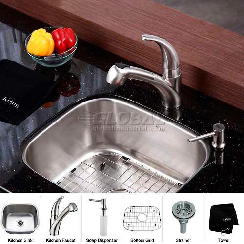 "Kraus KBU11-KPF2110-SD20 20"" Undermount Single Bowl SS Kitchen Sink W/Faucet... by"