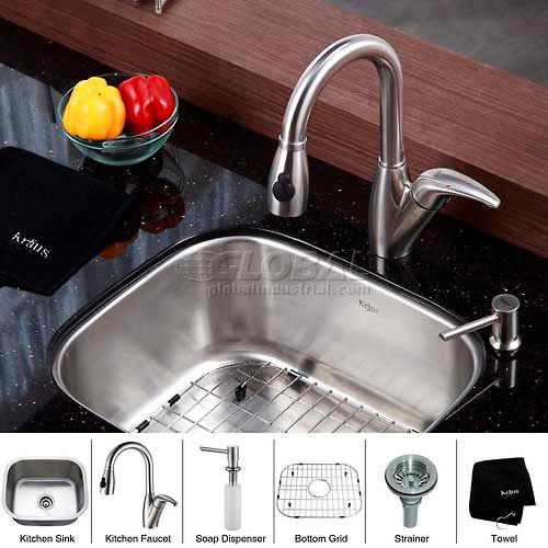 "Kraus KBU11-KPF2121-SD20 20"" Undermount Single Bowl SS Kitchen Sink W/Faucet... by"
