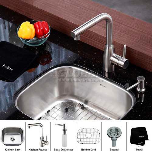 "Kraus KBU11-KPF2140-SD20 20"" Undermount Single Bowl SS Kitchen Sink W/Faucet... by"