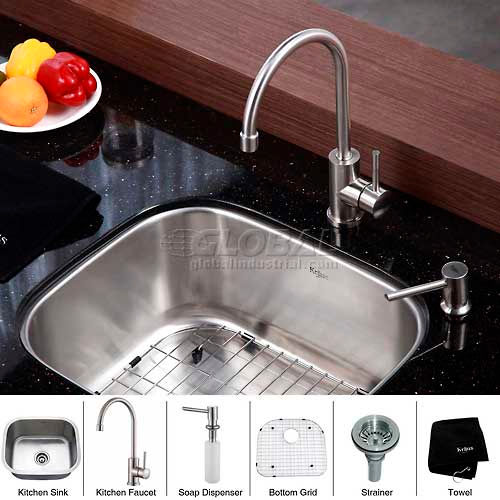 "Kraus KBU11-KPF2160-SD20 20"" Undermount Single Bowl SS Kitchen Sink W/Faucet... by"