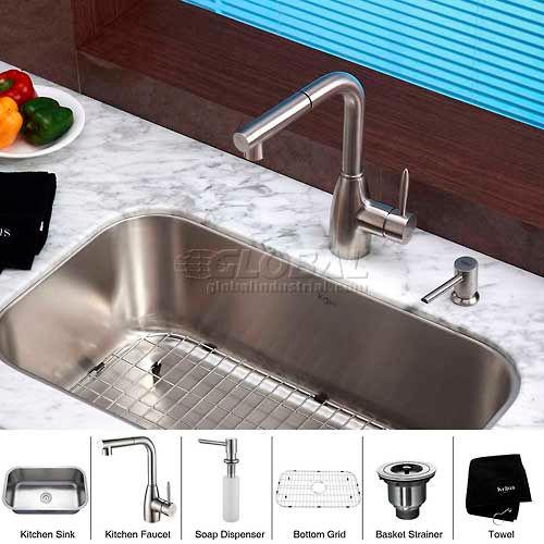 "Kraus KBU14-KPF2140-SD20 31-1/2"" Undermount Single Bowl SS Kitchen Sink W/Faucet... by"