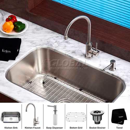 "Kraus KBU14-KPF2160-SD20 31-1/2"" Undermount Single Bowl SS Kitchen Sink W/Faucet... by"