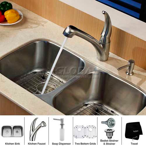 "Kraus KBU22-KPF2110-SD20 32"" Undermount Double Bowl SS Kitchen Sink W/Faucet... by"