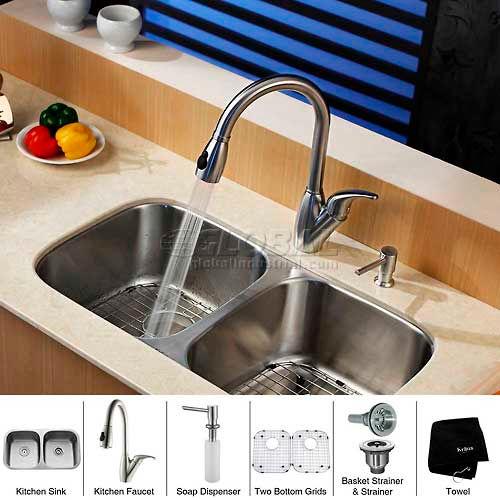 "Kraus KBU22-KPF2120-SD20 32"" Undermount Double Bowl SS Kitchen Sink W/Faucet... by"