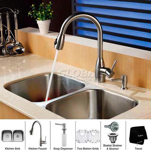 "Kraus KBU22-KPF2130-SD20 32"" Undermount Double Bowl SS Kitchen Sink W/Faucet... by"