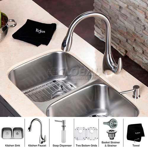 "Kraus KBU22-KPF2170-SD20 32"" Undermount Double Bowl SS Kitchen Sink W/Faucet... by"