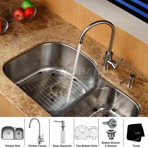 "Kraus KBU23-KPF2160-SD20 32"" Undermount Double Bowl SS Kitchen Sink W/Faucet... by"
