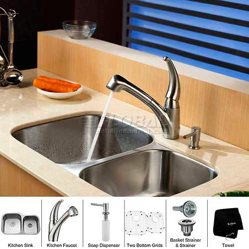 "Kraus KBU24-KPF2110-SD20 32"" Undermount Double Bowl SS Kitchen Sink W/Faucet... by"
