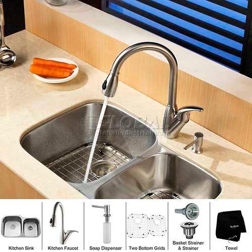 "Kraus KBU24-KPF2120-SD20 32"" Undermount Double Bowl SS Kitchen Sink W/Faucet... by"