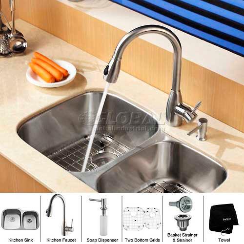 "Kraus KBU24-KPF2130-SD20 32"" Undermount Double Bowl SS Kitchen Sink W/Faucet... by"