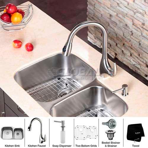 "Kraus KBU24-KPF2170-SD20 32"" Undermount Double Bowl SS Kitchen Sink W/Faucet... by"
