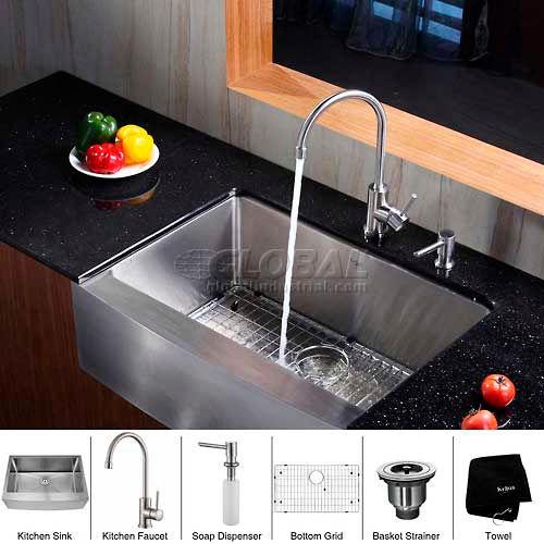 """Kraus KHF200-30-KPF2160-SD20 30"""" Farmhouse Single Bowl SS Kitchen Sink W/Faucet... by"""
