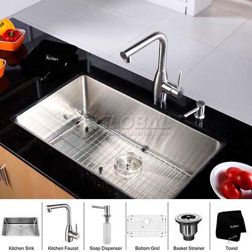"Kraus KHU100-30-KPF2140-SD20 30"" Undermount Single Bowl SS Kitchen Sink W/Faucet... by"