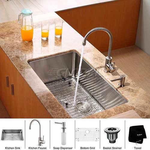 "Kraus KHU100-30-KPF2160-SD20 30"" Undermount Single Bowl SS Kitchen Sink W/Faucet... by"