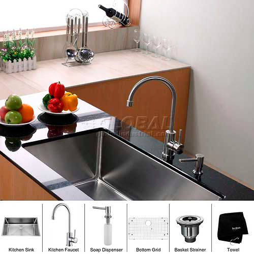 "Kraus KHU100-32-KPF2160-SD20 32"" Undermount Single Bowl SS Kitchen Sink W/Faucet... by"