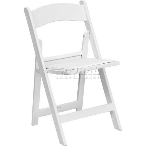 Folding Chair with Vinyl Seat Resin White Package Count 4 by