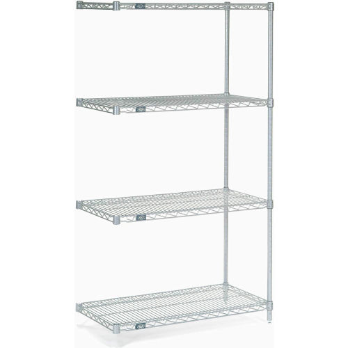 "Nexel Stainless Steel Wire Shelving Add-On 36""W X 18""D X 63""H by"
