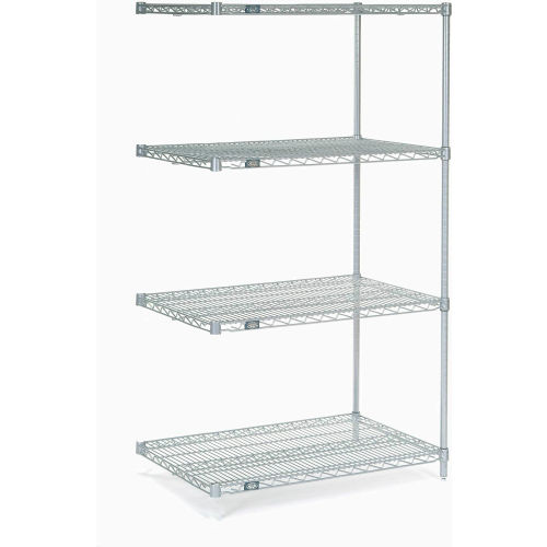 "Nexel Stainless Steel Wire Shelving Add-On 36""W X 24""D X 63""H by"