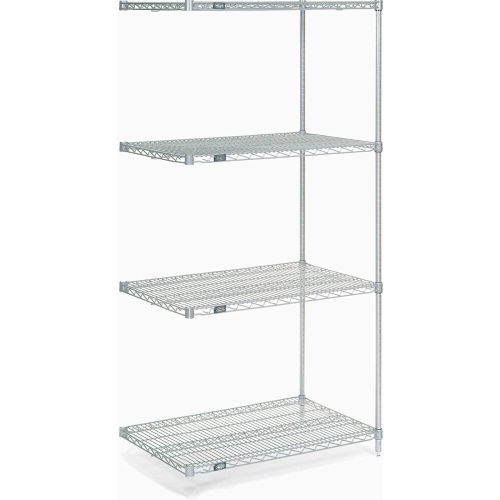 "Nexel Stainless Steel Wire Shelving Add-On 36""W X 18""D X 74""H by"