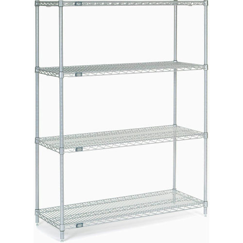 "Nexel Stainless Steel Wire Shelving 48""W X 18""D X 63""H by"