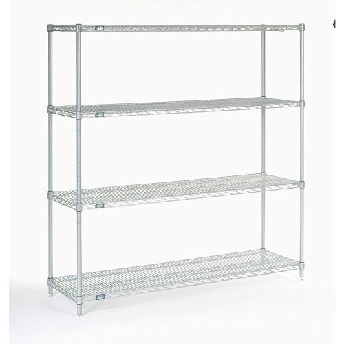 "Nexel Stainless Steel Wire Shelving 60""W X 18""D X 63""H by"