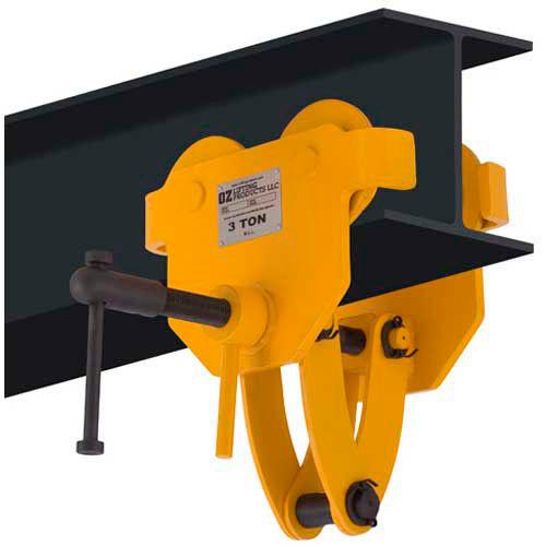 hoists & cranes | trolleys-manual & electric powered | oz lifting quick  adjust trolley 3 ton capacity | b1583581 - globalindustrial com