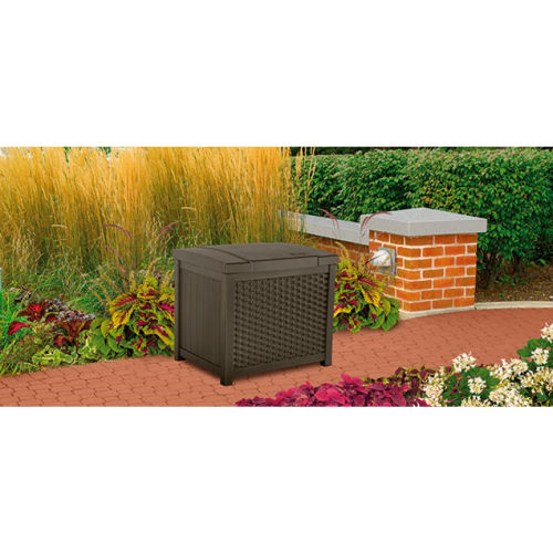 Bins, Totes U0026 Containers | Containers Deck Boxes | Suncast SSW900 Resin  Wicker Outdoor Storage Deck Box 22 Gallon 22 1/2u0026quot;W X 18u0026quot;D X  20 1/2u0026quot;H ...