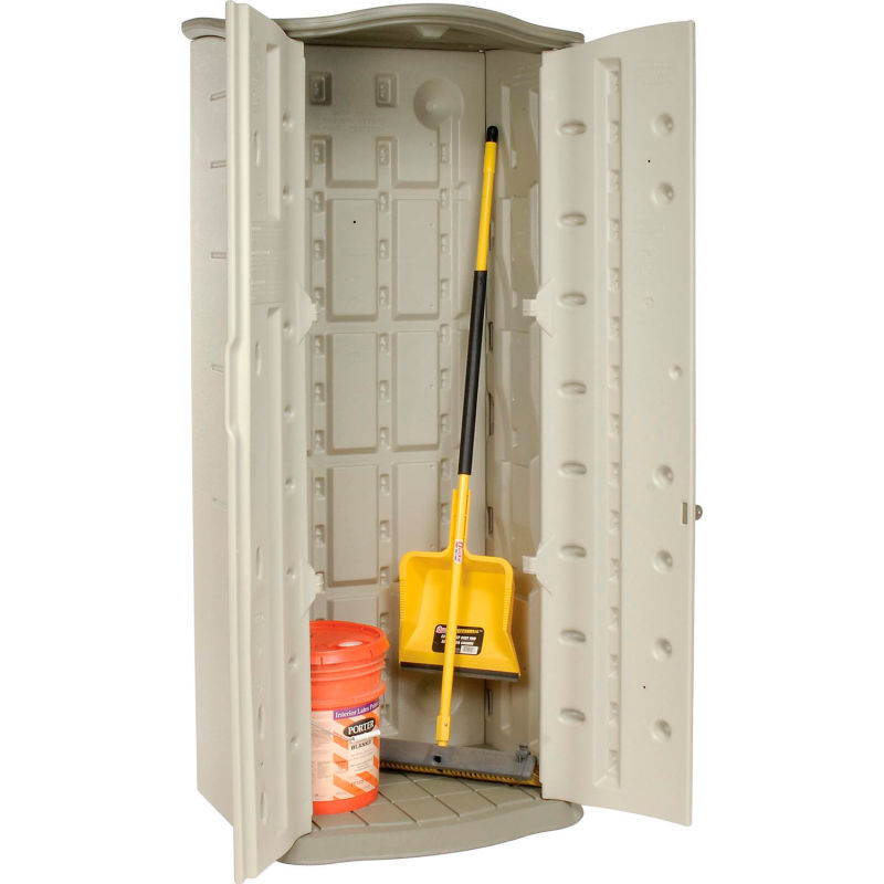 Rubbermaid FG374901OLVSS Vertical Storage Shed Beige Small