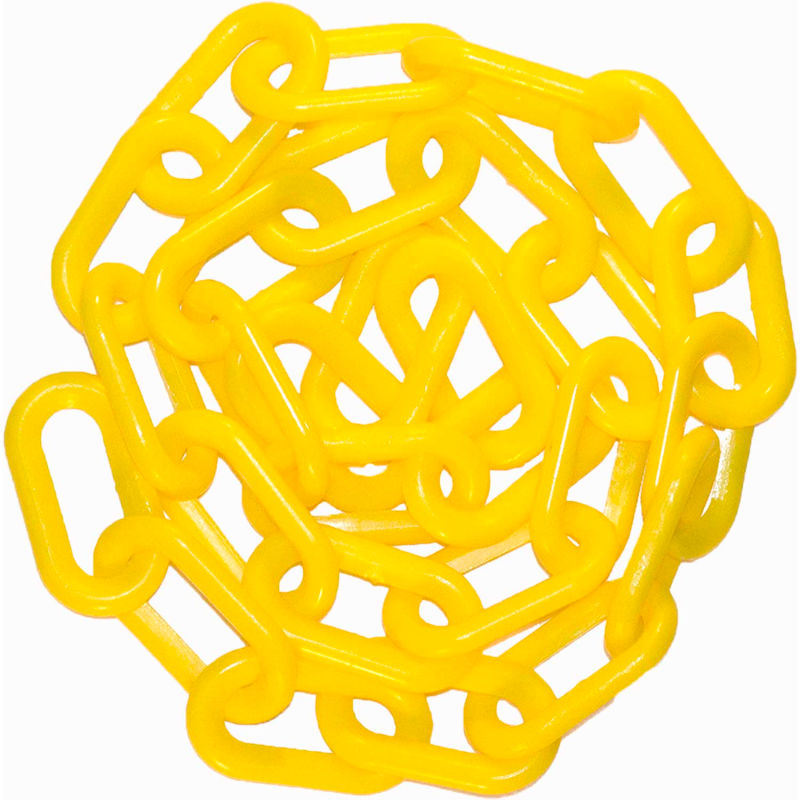 100-Foot Length Yellow Chain Plastic Barrier Chain 1-Inch Link Diameter Mr 10002-100