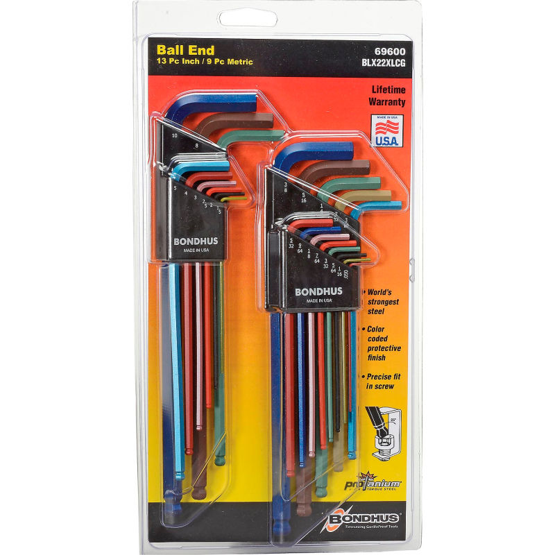 Pack of 50 98mm Bondhus 28056 3mm Ball End Tip Hex Key L-Wrench with GoldGuard Finish