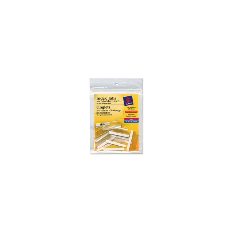 1-1//2L Clear Avery 16230 Index Tabs W//Printable Inserts 25//PK