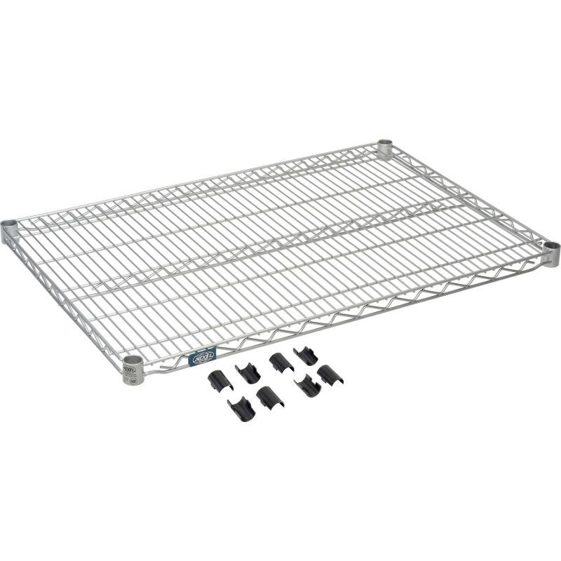 Nexel S2436EP Silver Epoxy Wire Shelf 36W x 24D with Clips