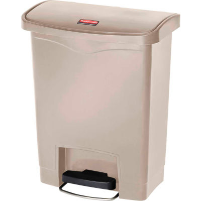 Rubbermaid® Slim Jim® 1883456 Plastic Step On Container, Front Step 8 Gallon - Beige