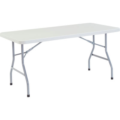 "Interion® Plastic Folding Table, 60"" x 30"", White"