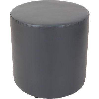 Interion® Round Reception Ottoman - Gray
