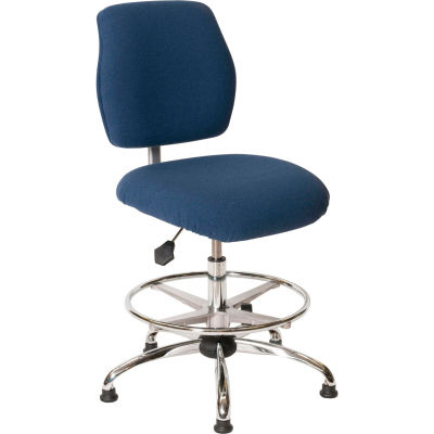 ShopSol ESD Office Chair - Medium Height - Economy Fabric - Blue